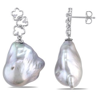 Miadora 14k White Gold Freshwater Pearl and Diamond Accent Earrings (12-13 mm)