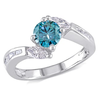 Miadora 14k Gold 1ct TDW Round Blue Center and Marquise Side Stone Diamond Ring