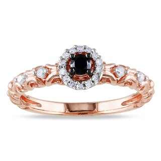 Haylee Jewels Rose Flash Plated Silver 1/4ct TDW Black and White Diamond Ring (H-I, I2-I3)