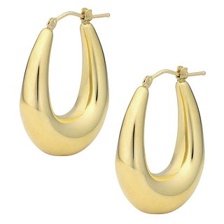 Oro Forte 14k Gold 1.25-inch Graduated Oval Hoop Earrings
