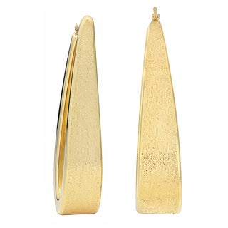 Oro Forte 14 Karat Yellow Gold Elongated Satin Finish Statement Earrings