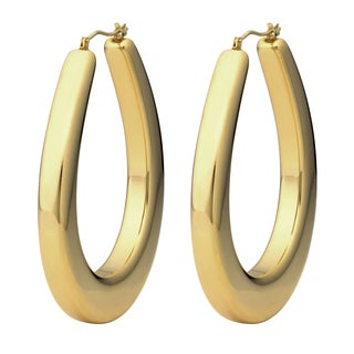 Oro Forte 14k Yellow Gold 2-inch Polished Oval Hoop Earrings