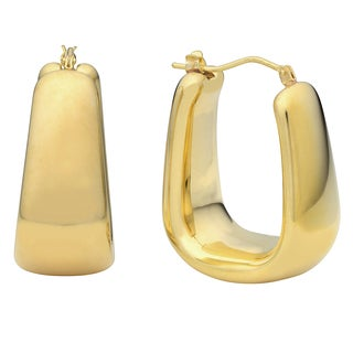 Oro Forte 14k Yellow Gold Polished Graduated Rectangular Hoop Earrings