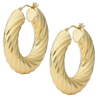 Oro Forte 14k Yellow Gold Bold Twist Design Round Hoop Earrings