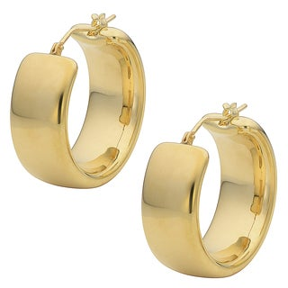 Oro Forte 14k Yellow Gold Polished Wedding Band Round Hoop Earrings