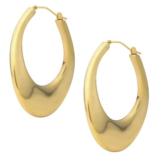 Oro Forte 14k Yellow Gold Bold Wavy Polished Hoop Earrings