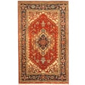 Indo Hand-knotted Heriz Red/ Black Wool Rug (3' x 5')