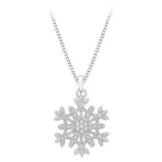 Sterling Silver 1/10ct Diamond Snowflake Pendant (JK, I1-I2)