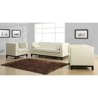 Zoe Cream Leather 2-piece Living Room Set