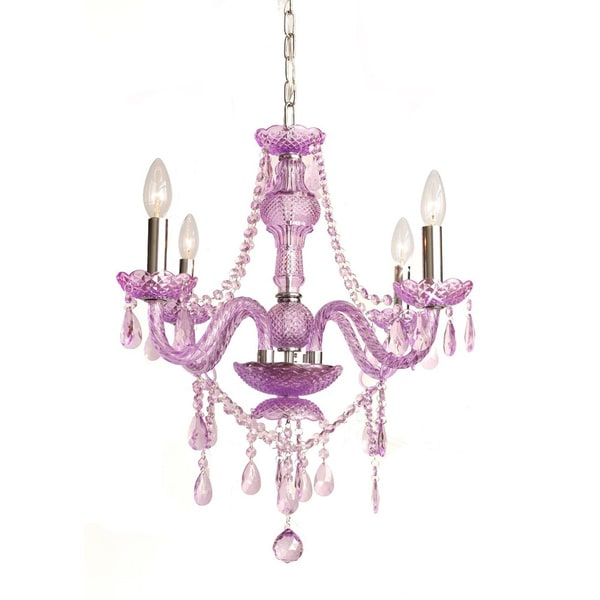 Gallery 4-light Purple Crystal Chandelier