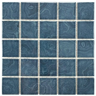 Paradise Beach Blue Porcelain Mosaic Floor And Wall Tile Case Of 10