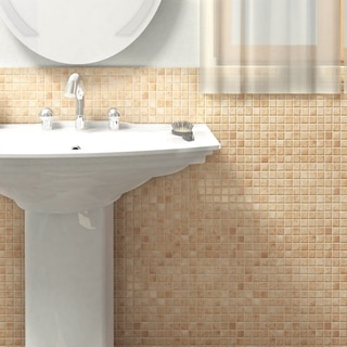 SomerTile 12x12 Lace Beige 0.25-in Porcelain Mosaic Tile (Pack of 10)