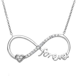 "La Preciosa Sterling Silver Heart ""Forever"" Cubic Zirconia Infinity Figure 8 Necklace"