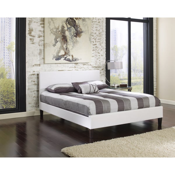 Sleep Sync Beaumont Upholstered White Leather Complete Platform Bed
