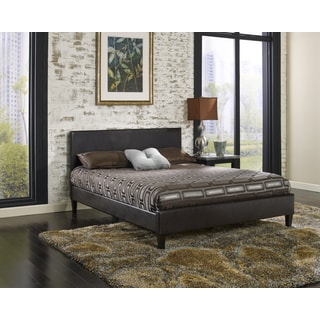 Sleep Sync Beaumont Upholstered Brown Leather Complete Platform Bed