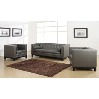 Zoe Grey Leather 2-piece Living Room Set