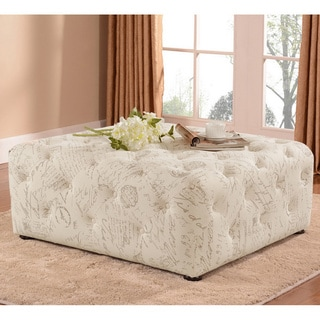 Baxton Studio Teague Patterned Modern Linen Tufted Ottoman