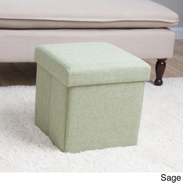 Square folding fabric storage ottoman 15927197 for Storage ottomans fabric