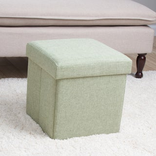 Square Folding Fabric Storage Ottoman