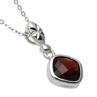 La Preciosa Sterling Silver Garnet Gemstone Pendant Necklace