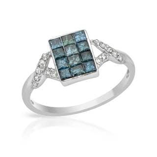 14k White Gold 4/5ct TDW Blue and White Diamond Ring (H-I, SI1-SI2)