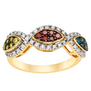 14k Yellow Gold 3/4ct TDW Multi-colored Diamond Ring (H-I, SI1-SI2)