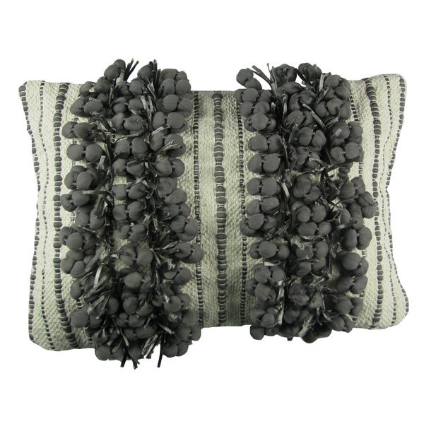 Frost Grey Fringe Decorative Pillow