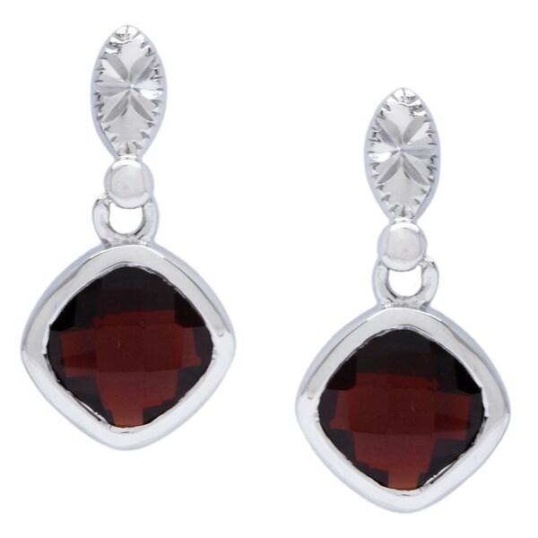 La Preciosa Sterling Silver Garnet Gemstone Earrings