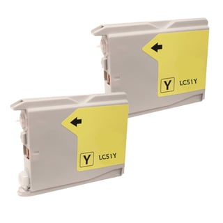 Brother LC51 Compatible Yellow Ink Cartridge (Remanufactured) (Pack of 2)