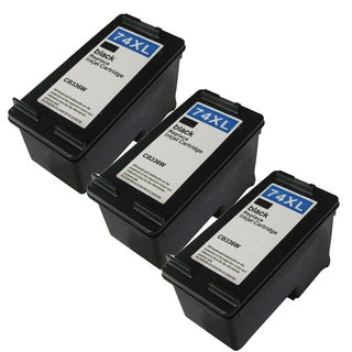 HP 74XL (CB336WN) High Yield Black Ink Cartridge (Remanufactured) (Pack of 3)