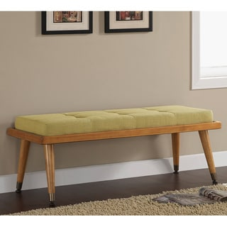 Retro Button-tufted Lemon Grass Bench