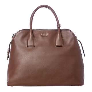 Prada Brown Medium Saffiano Leather Triple-zip Bag