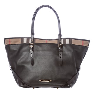 Burberry 'Salisbury' Medium Brown Leather and House Check Tote