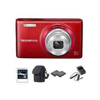 Olympus Stylus VG-180 16MP Red Digital Camera 16GB Bundle