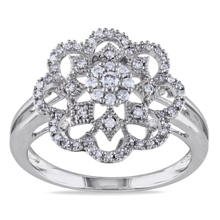 Miadora 14k White Gold 1/3ct TDW Diamond Flower Ring (G-H, I1-I2)