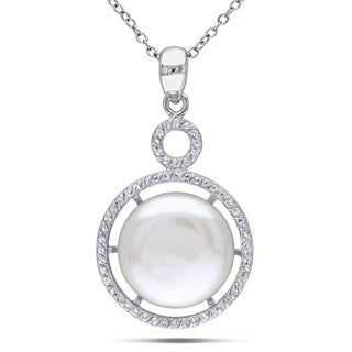 Miadora Sterling Silver White Topaz and Pearl Necklace (14-15 mm)