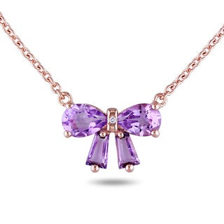 Miadora Rose Flashplated Silver Amethyst and Diamond Accent Bow Necklace