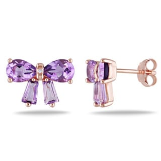 Miadora Rose Flashplated Silver Amethyst and Diamond Accent Bow Earrings