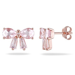 Miadora Rose Flashplated Silver Rose Quartz and Diamond Accent Bow Earrings