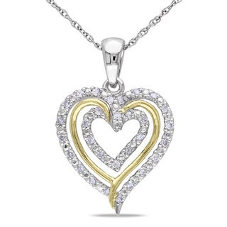 Miadora 10k Two-tone Gold 1/6ct TDW Diamond Heart Necklace (H-I, I2-I3)