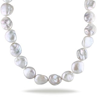 Miadora Sterling Silver Flat Cultured Freshwater Pearl Necklace (15-15.5 mm)