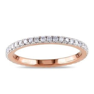 Miadora 14k Rose Gold 1/2ct TDW Diamond Eternity Ring (G-H, I1-I2)