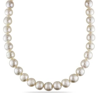 Miadora Signature Collection 14k Yellow Gold South Sea Pearl and Diamond Necklace (11-13 mm)