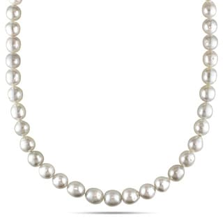 Miadora Signature Collection 14k Yellow Gold South Sea Pearl and Diamond Necklace (9-10 mm)