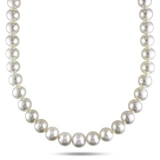 Miadora Signature Collection 14k Yellow Gold South Sea Pearl and Diamond Necklace (10-12 mm)