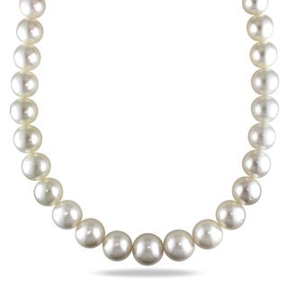 Miadora Signature Collection 14k Yellow Gold South Sea Pearl and Diamond Necklace (14-18 mm)