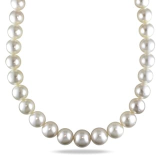 Miadora Signature Collection 14k Yellow Gold South Sea Pearl and Diamond Necklace (14-17 mm)
