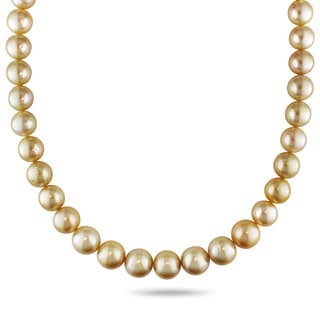 Miadora Signature Collection 14k Yellow Gold Golden South Sea Pearl and Diamond Necklace (11-13 mm)