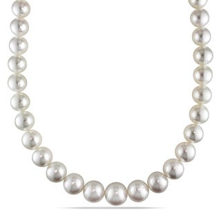 Miadora Signature Collection 14k Yellow Gold South Sea Pearl and Diamond Necklace (11-15 mm)