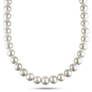 Miadora Signature Collection 14k Yellow Gold South Sea Pearl and Diamond Necklace (11-14 mm)